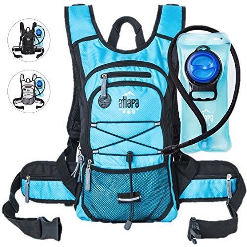 Atlapa Sports lightweight Hydration Backpack-2L TPU Leak Proof Water Bladder-Insulated Pocket Keeps Liquids Cold-Padded Shoulder & Adjustable Straps-Daypack for Hiking Skiing, Running, (Liter Hydration System)