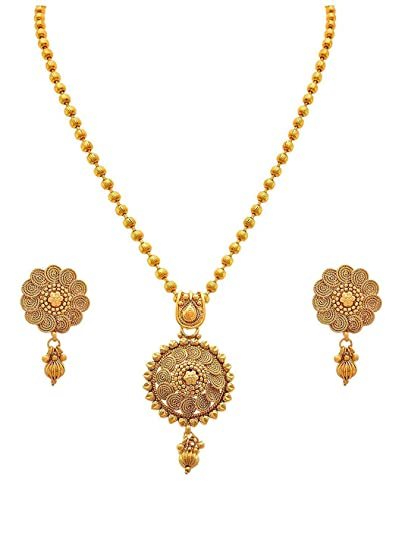 974915d7c5 Buy BFC-Traditional Ethnic One Gram Gold Plated Designer Pendant Set with  Earring for Women and Girls. Online at Low Prices in India | Amazon  Jewellery ...