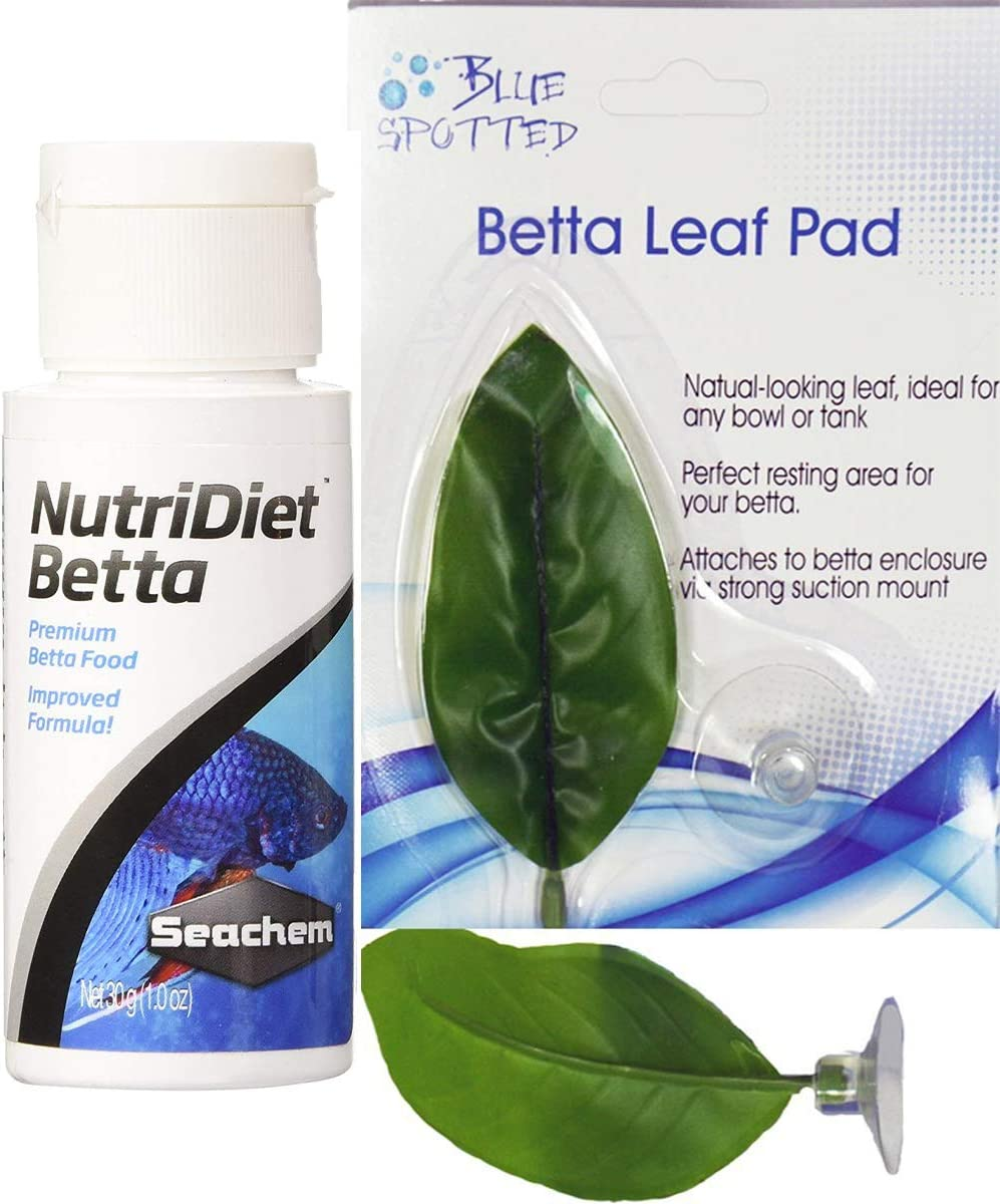 Blue Spotted Betta Plant Leaf Pad and Nurtidiet Food for Betta Fish, Tropical Fish Aquariums & Saltwater Fish Aquariums, by Blue Spotted (1 PK & Food)