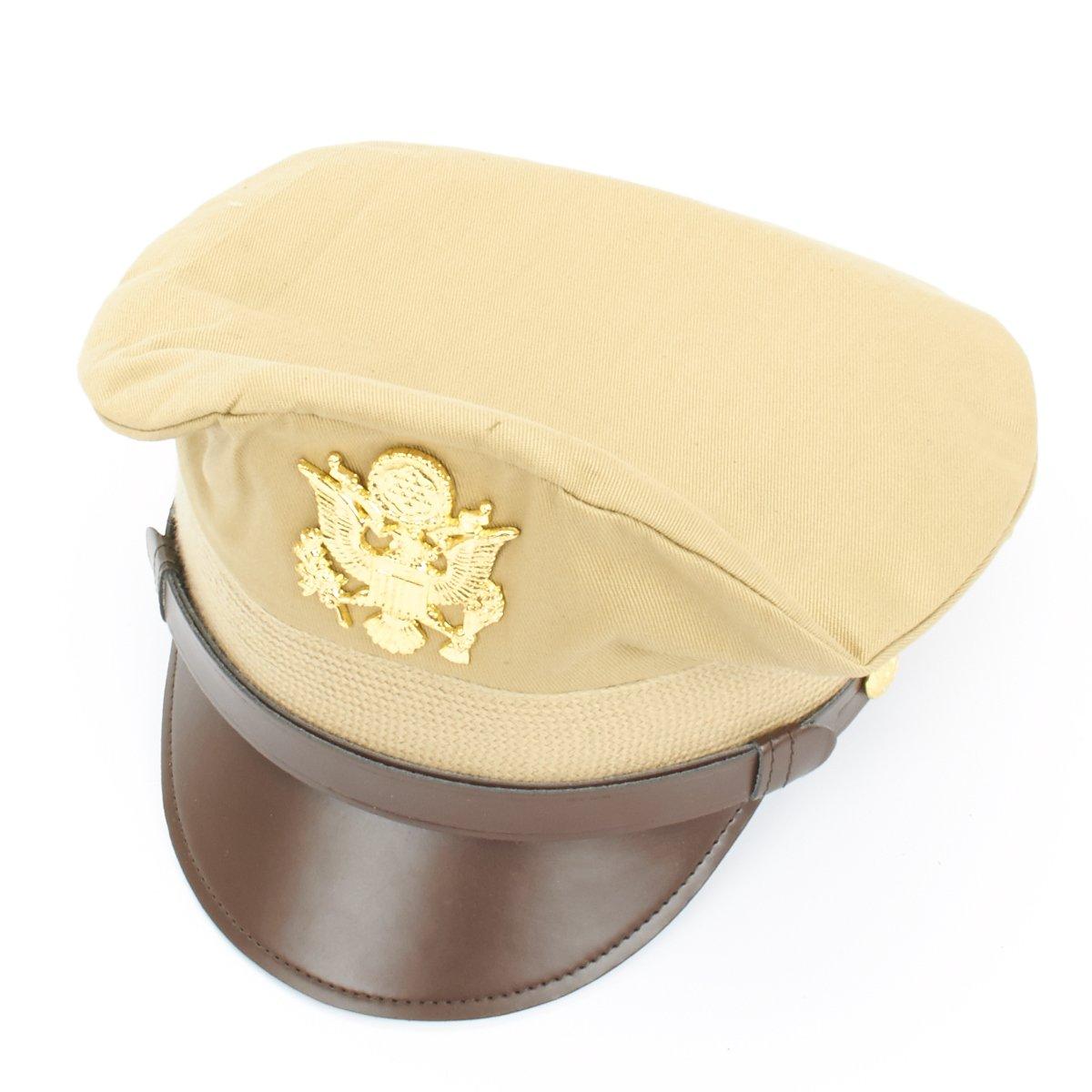 c6ed0e27c11c44 Amazon.com: U.S. WWII Officer Visor Crusher Cap: Summer (Khaki) - Size US 7  1/2 (60 cm): Military Apparel Accessories: Clothing