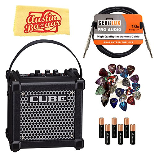 Roland Micro Cube GX Battery-Powered Guitar Amplifier - Black Bundle with Instrument Cable, Batteries, 24 Picks, and Austin Bazaar Polishing Cloth ()