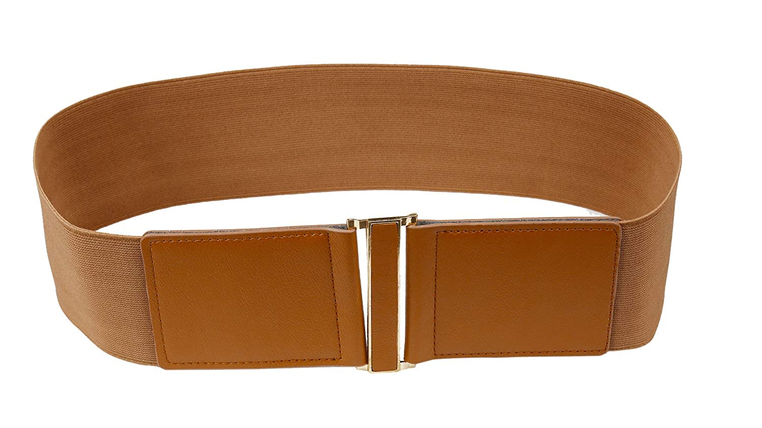 Brown Modeway 3  Wide Stretch Elastic Cinch High Waist Belts For women With gold Buckle