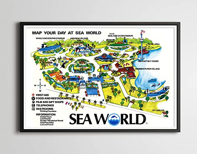 Amazon.com: 1977 SEA WORLD Orlando Map POSTER! (up to full ...
