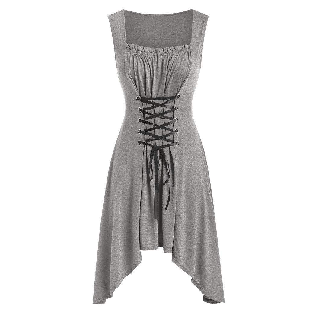 Mikilon Vintage Gothic Dress Sleeveless Lace Up Slime Asymmetrical Flare Midi Dress Halloween Costume Gray by Mikilon Women Dress