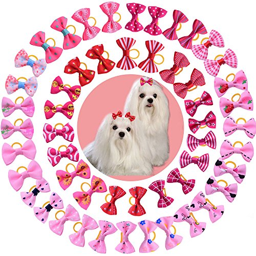 yagopet 50pcs/25 Pairs New Dog Hair Bows Red Rose Pink for Girls Dog Topknot with Rubber Bands Durable Small Bowknot Pet Grooming Products Accessories ()