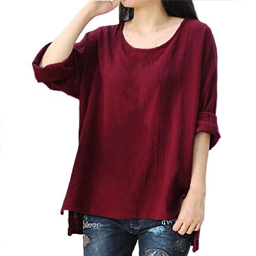 OverDose camisetas blusas manga larga para mujer tops ocasionales flojos suaves tamaño grande L-XXXX...
