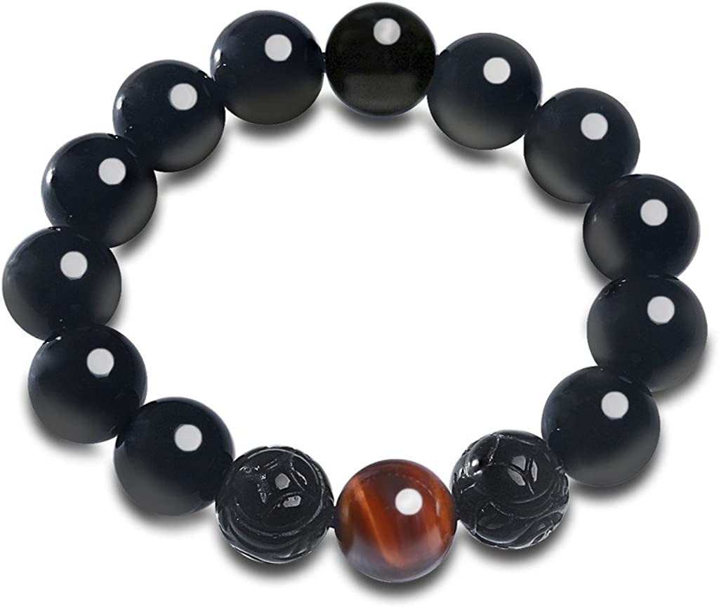 COAI® Pulsera de Obsidiana Negra Natural y Ojo de Tigre Rojo Cuenta de Zodíaco Chino Brazalete de Hombre