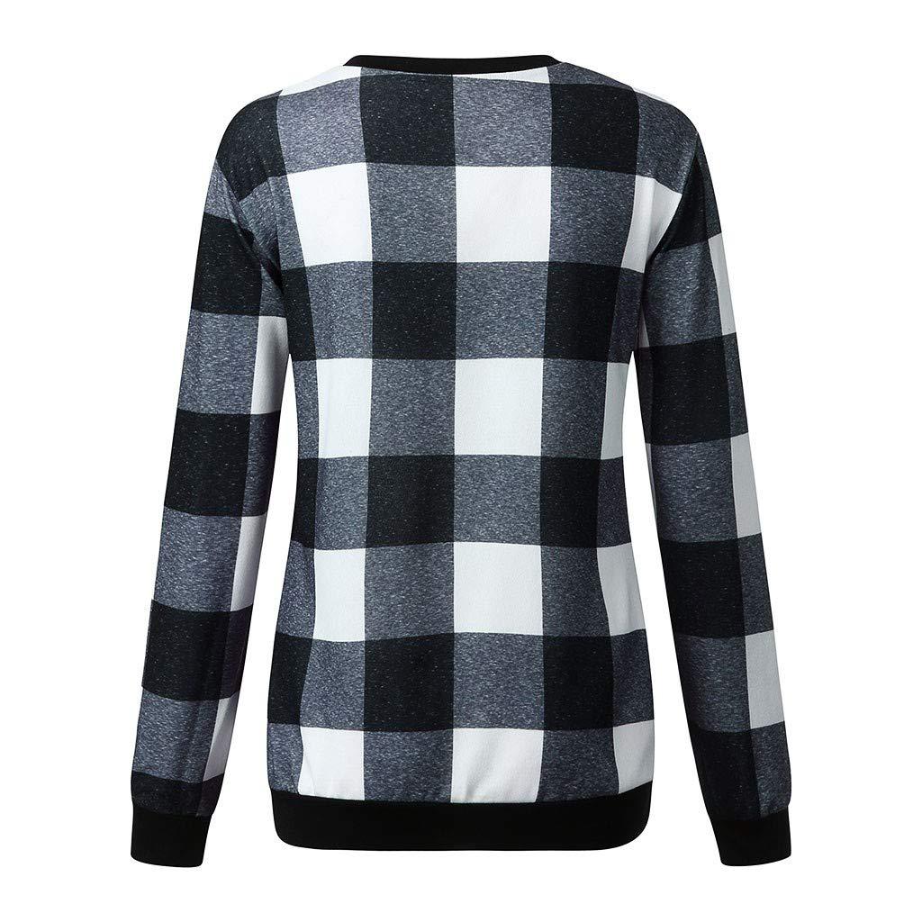 Ears Frauen Casual Sweatshirt Kreuz Hohl Top V-Ausschnitt Plaid Print Bluse Langarm T-Shirt Top Casual Baumwoll Pullover Langarm Sweatshirt Herbst Winter Pullover Sweater Tops Coats
