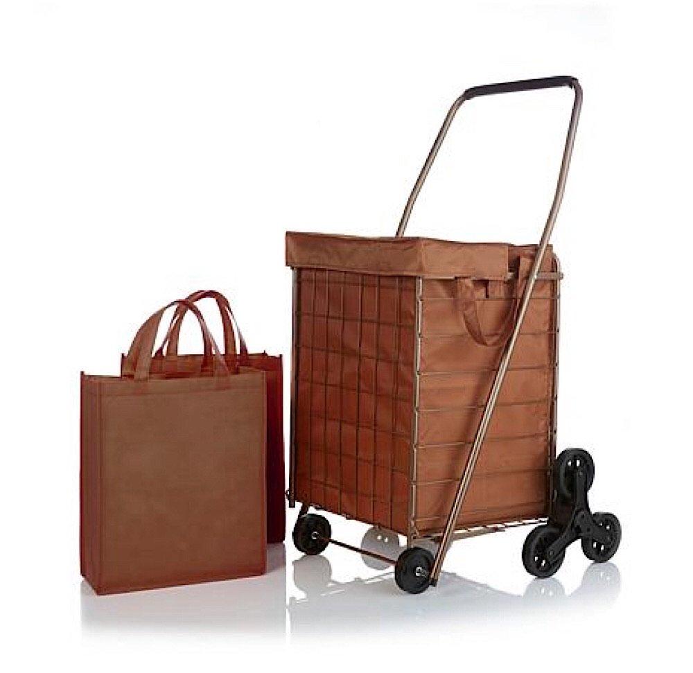 3-Wheel Stair-Climbing Folding Cart with Nylon Liner - Bronze