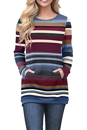 4c63f4593888d FIYOTE Womens Color Block Long Sleeve Tunic Sweatshirt Tops Kangaroo Pocket  Casual Autumn Long Tops Plus
