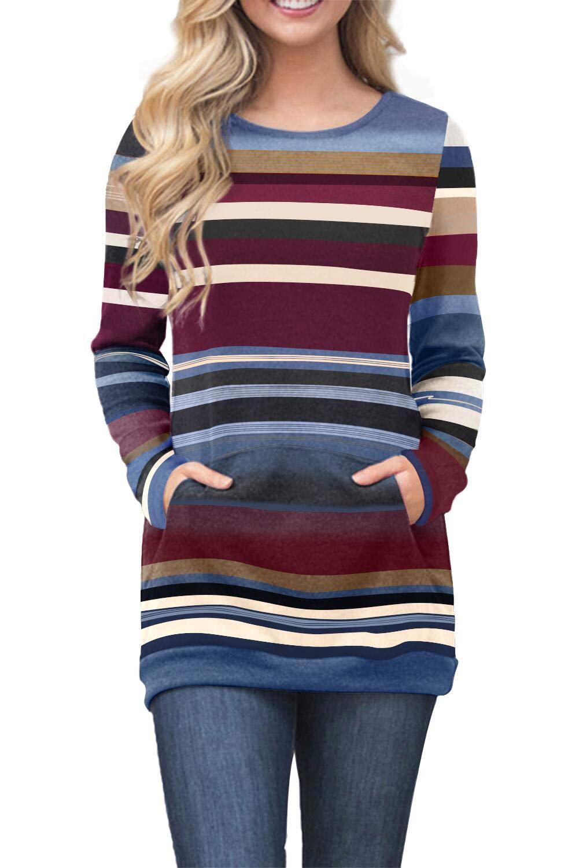AlvaQ Winter Cotton Casual Loose Long Tunic for Women Long Sleeve Pockets Striped Sweatshirt Ladies Juniors Pullovers Plus Size Blue XXL by AlvaQ