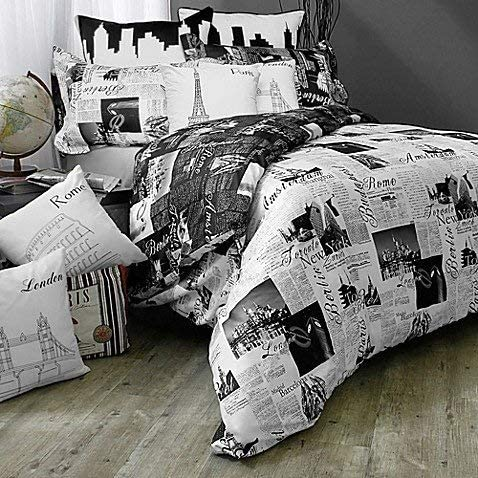 Passport London Paris Reversible Twin Duvet Cover Set Black White Standard Sham