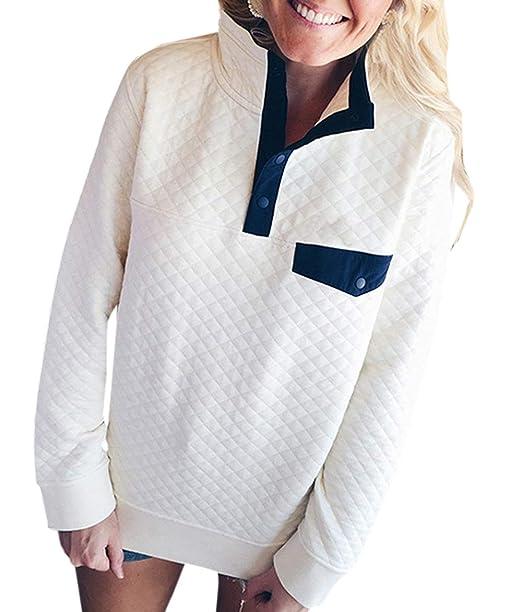 Mujeres Tops Patchwork Pulóver Suéter Blusa T-Shirt Moda Manga Larga Sudaderas Jumpers Jerséis