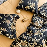 Eastern Floral Chinoiserie Blossom Print Duvet Quilt Cover Navy Blue Tan White Asian Style Botanical Tree Branches Ornamental Drawing 400TC Egyptian Cotton 3pc Bedding Set (King, Black)