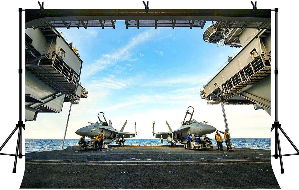 6x4ft Vinyl Aircraft Carrier Background The Aircraft Carrier on The Sea Surface Maintenance Photography Background for Children and Adults Decorative Film Photography Background for Party Decoration B