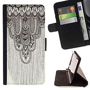 - pencil drawing art beige pattern feather - - Prima caja de la PU billetera de cuero con ranuras para tarjetas, efectivo desmontable correa para l Funny HouseFOR Samsung Galaxy Core Prime