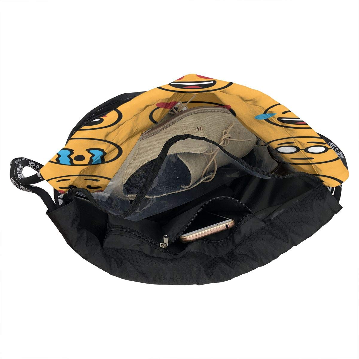 Large /& Waterproof Gymsack Sackpack Backpack Cinch Sack For School Gym Travel 2 Drawstring Bag For Men /& Women Emoji