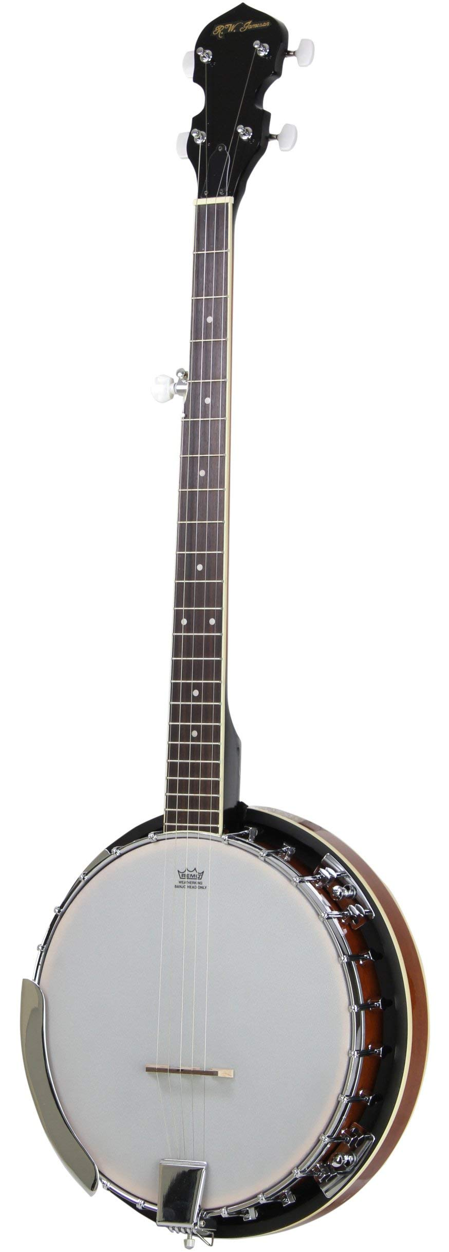 Jameson Guitars 5-String Banjo 24 Bracket with Closed Solid Back and Geared 5th Tuner (Renewed)