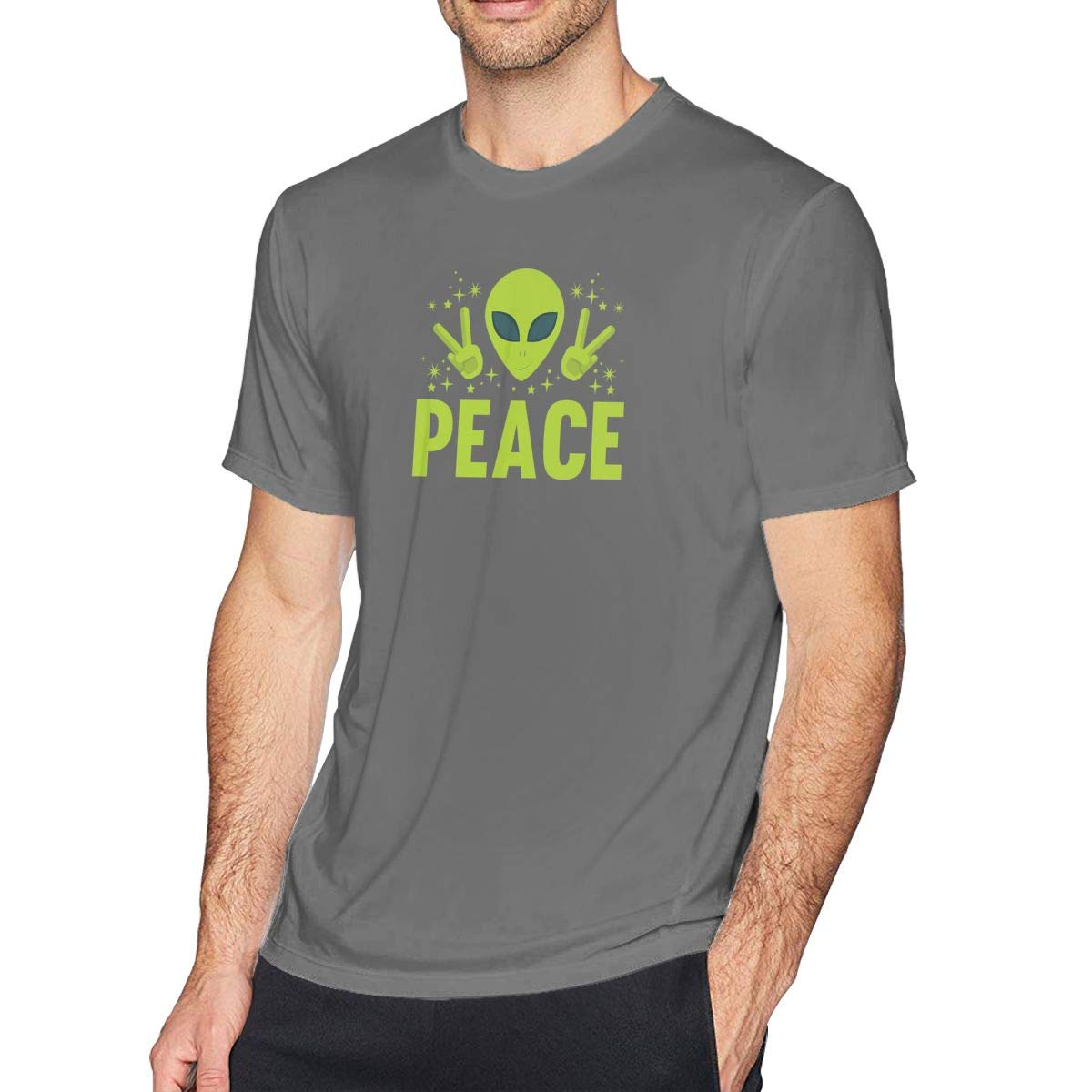 UFO Alien Peace Mens Casual Graphic Short Sleeve T-Shirt 100/% Cotton Funny Saying Tee Tops