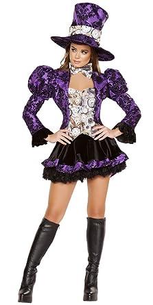 Purple Ruffle Mad Hatter Girl Halloween Costume - Purple/Black/White - Small  sc 1 st  Amazon.com & Amazon.com: Purple Ruffle Mad Hatter Girl Halloween Costume: Clothing