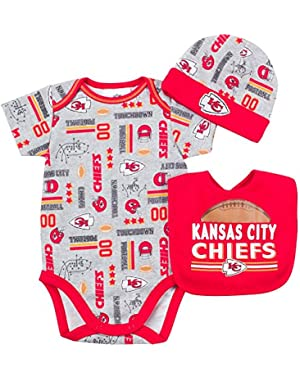 Kansas City Chiefs Football Baby Boys Bodysuit, Bib & Cap Set (0/3 Months