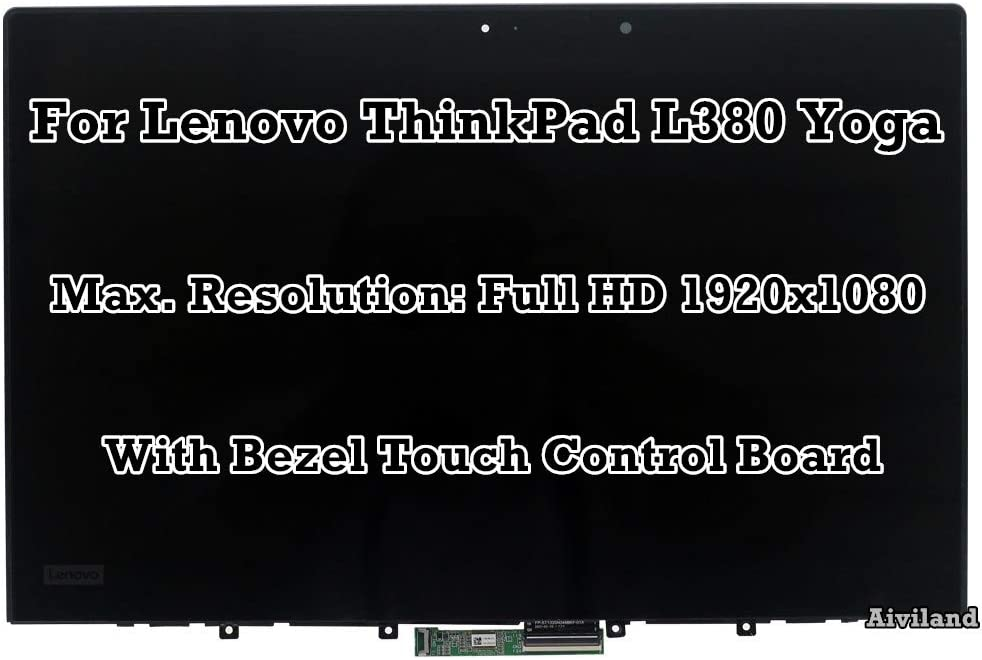 "13.3"" Touch Panel Digitizer Touch Control Board with Bezel Frame LCD Screen Full HD 1920x1080 Display Assembly for Lenovo ThinkPad L380 Yoga 02DA313 02DL916"