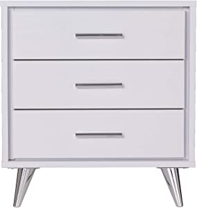 Southern Enterprises Oren Bedside Table w/Drawers Nightstand, White