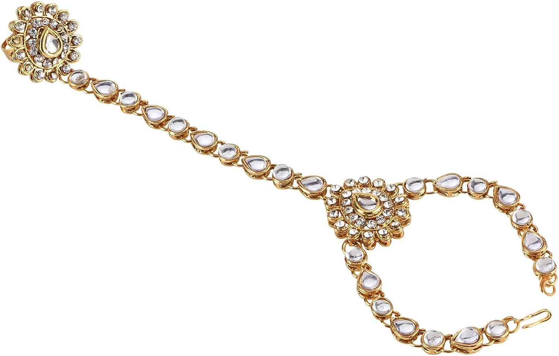 Efulgenz - Pulsera de eslabones para Dedo, diseño de Bollywood Boho de Cristal Chapado en Oro
