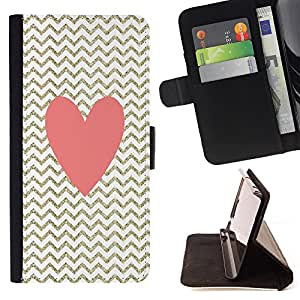 King Air - Premium PU Leather Wallet Case with Card Slots, Cash Compartment and Detachable Wrist Strap FOR Sony Xperia Z3 D6653- Chevron Red Heart