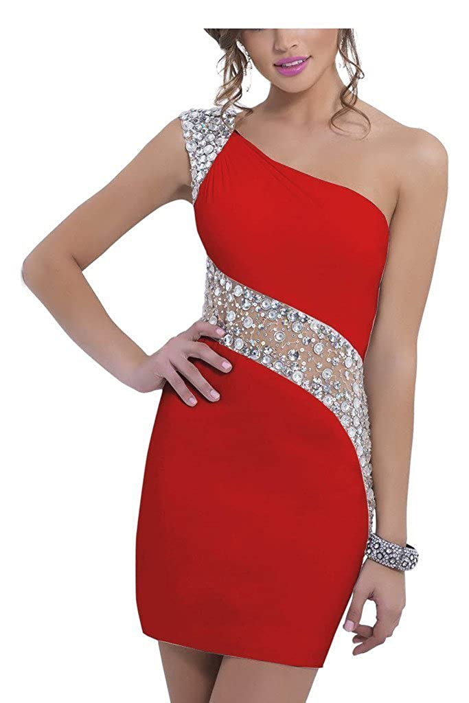 SDRESS Womens Crystals One Shoulder Cap Sleeve Mini Sheath Cocktail Dress