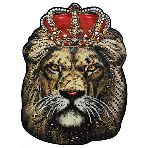 EMDOMO 1piece Big Lion King Head Embroidery Patches Sequin Motifs Large Fabric Animal Patch Sew on Big T-Shirt Jacket Sweater DIY Apparel Craft Sewing Accessories TH914