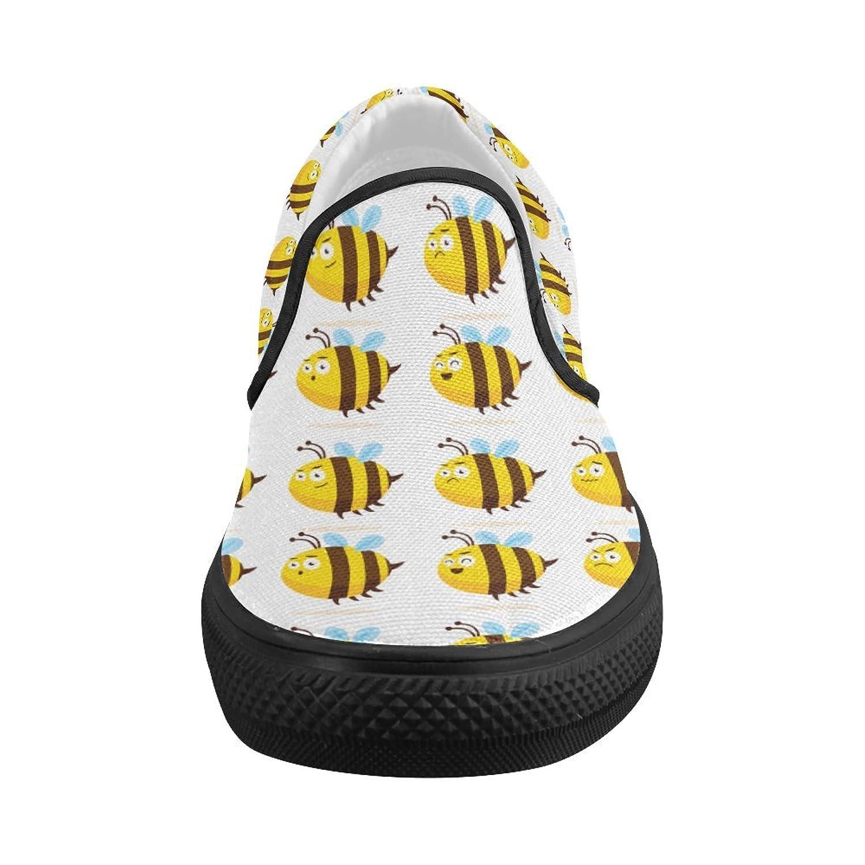 Shoes Fat Honeybee Beehive Pattern Slip-on Canvas Loafer For Women