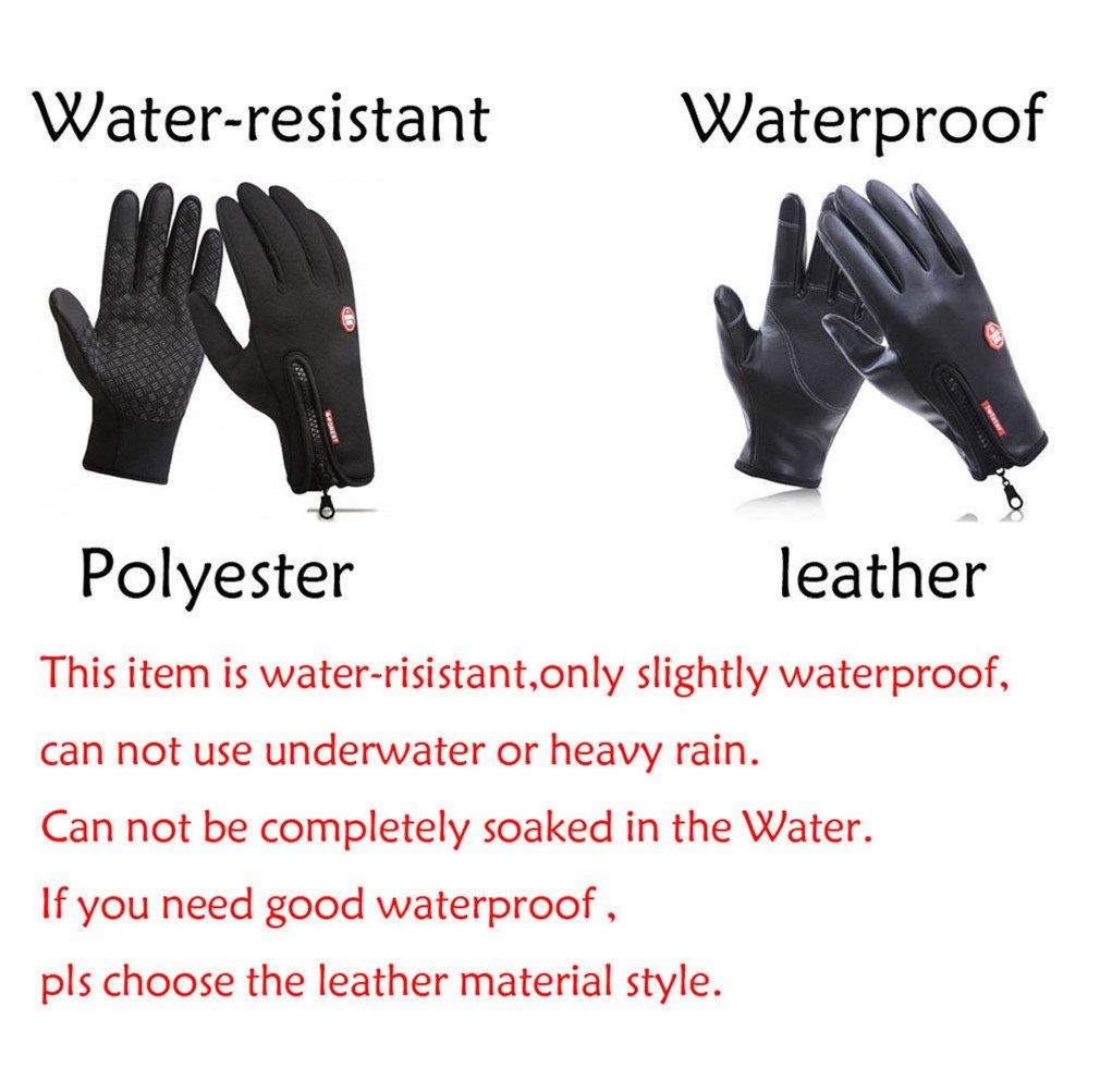 Waterproof Touchscreen Cycling Gloves Winter Warm Full Finger Outdoor Ski Snow Bike Women Men Adjustable Size Glove for Smart Phone,Black,M /Plam width:3.14in by HILEELANG (Image #3)