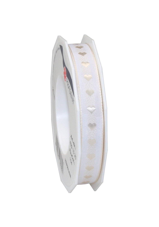 Pr/äsent Herzilein Nastro in Raso Colore: Bianco con Cuoricini Crema 20 m 15 mm