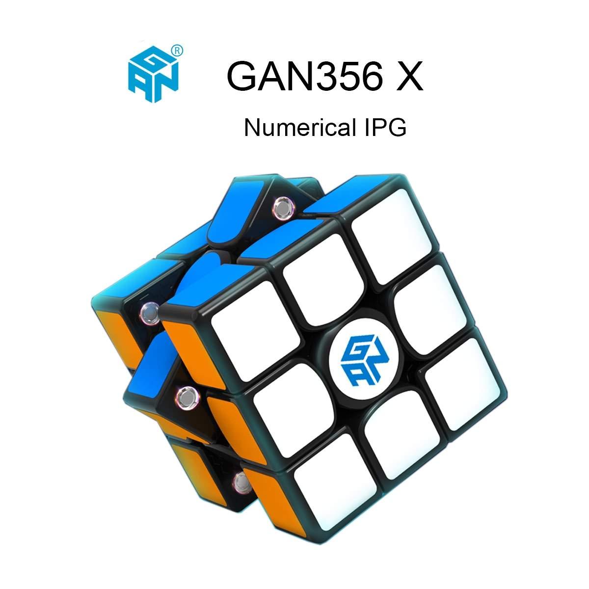 Schwarz OJIN Ganspuzzle GAN356 X Numerischer IPG Geschwindigkeitswürfel 3x3 Gan 356 X Zauberwürfel-Puzzle mit Einer Würfeltasche und Einem Würfelstativ (Schwarz)