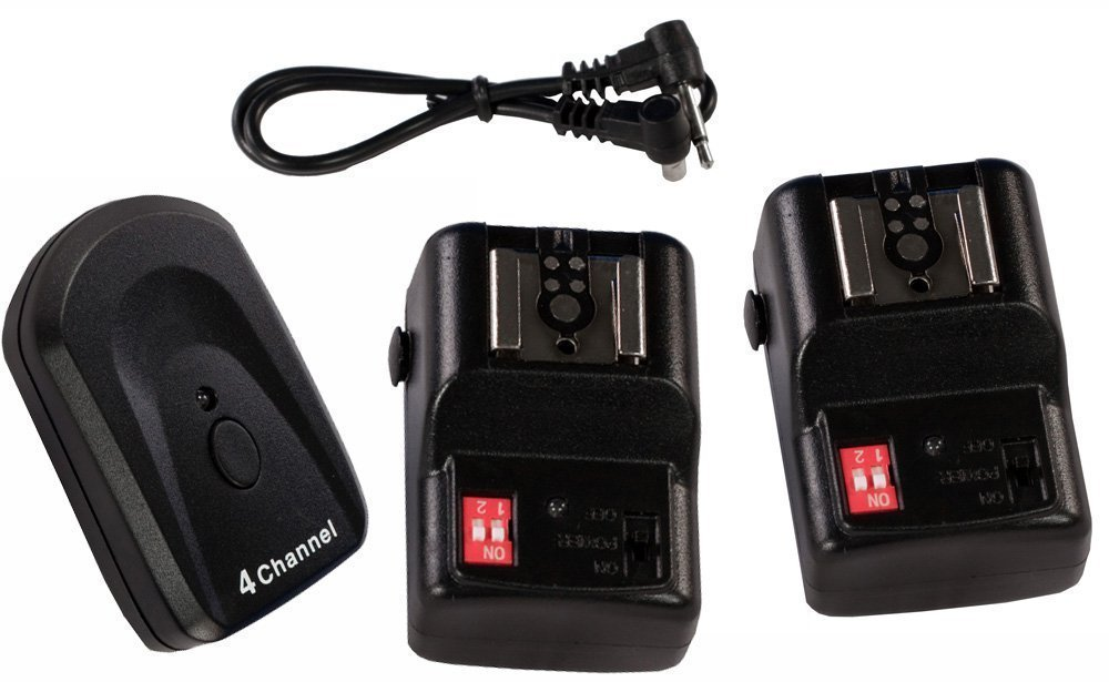 Simple Studio (TM) NPT-04 4 Channel Wireless Hot Shoe Flash Trigger and 2 Receivers Set for Canon Nikon Pentax