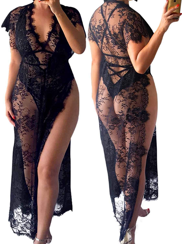 Vivilover Womens Lace Plus Size Swimsuit Coverup Beach Maxi Long Dress (black) at  Women's Clothing store