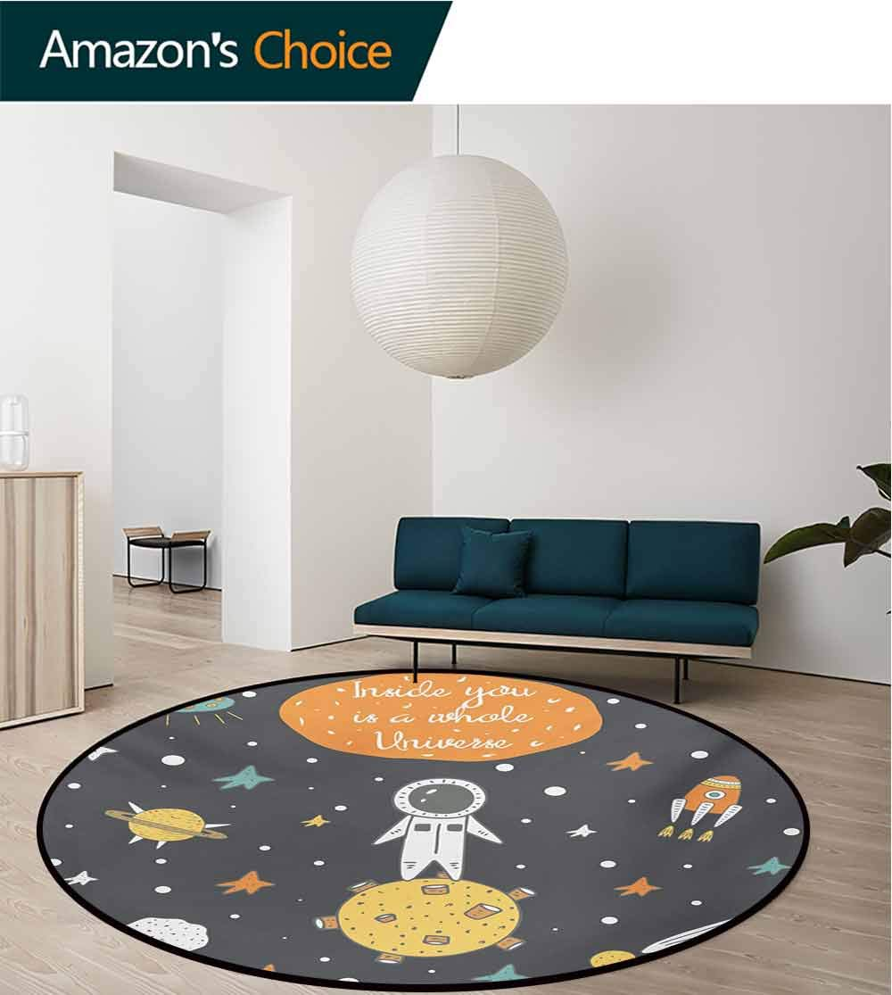 RUGSMAT Outer Space Modern Machine Washable Round Bath Mat,Doodle Style Astronaut Alien Planets and Spaceships with A Motivational Quote Non-Slip Soft Floor Mat Home Decor,Round-31 Inch by RUGSMAT (Image #1)