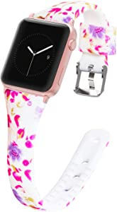 Greatfine Compatible with Apple Watch Band 38MM 40MM 42MM 44MM Soft Silicone, Women iWatch Band Pattern Print Replacment Strap Wristband Compatible with Apple Watch Series 5 4 3 2 1