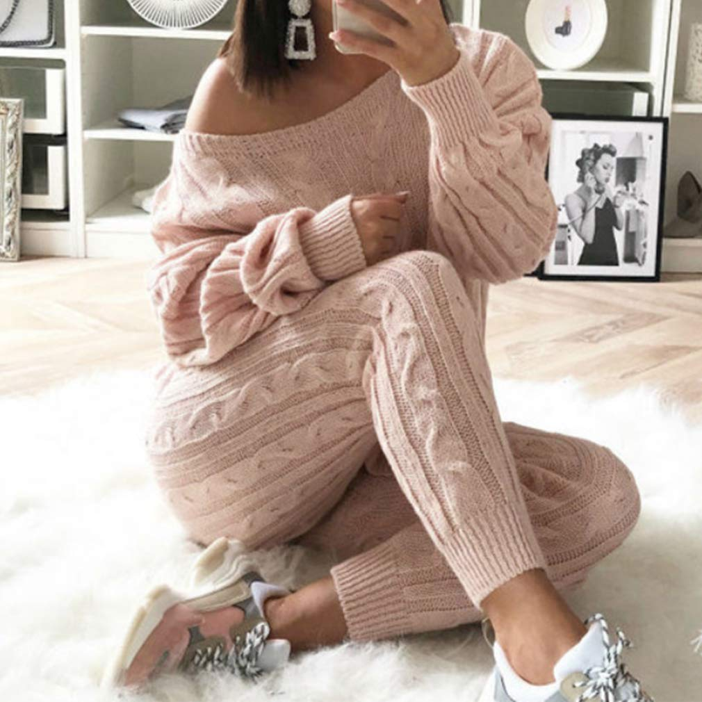 RUEWEY Womens Off Shoulder 2 Piece Set Casual Knitted Pullover Sweaters Suit Pants Tracksuit Lounge Set