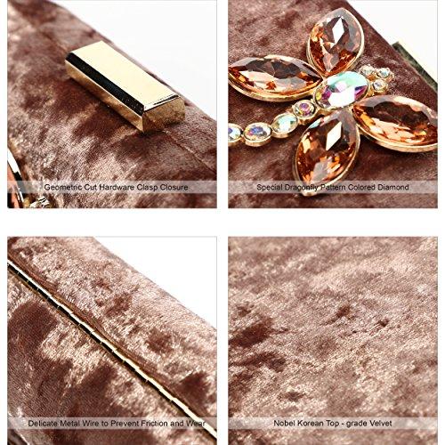 Evening Ali Velvet Champange Victory Women Diamond Colored for Clutch Noble Purse r1XBKq1