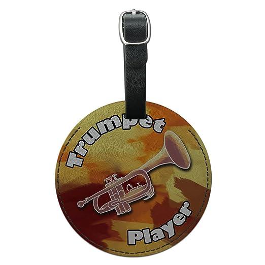 9e6f25eda025 Amazon.com   Trumpet Player Band Instrument Brass Round Leather ...