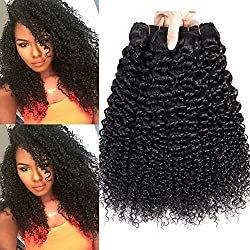Kinkys Curly Human Hair 3 Bundles of Brazilian Hair Deep Curly Weave 12inch 10A 100% Unprocessed Virgin Brazilian Curly Hair Extensions Natural Color Can be Dyed 300G