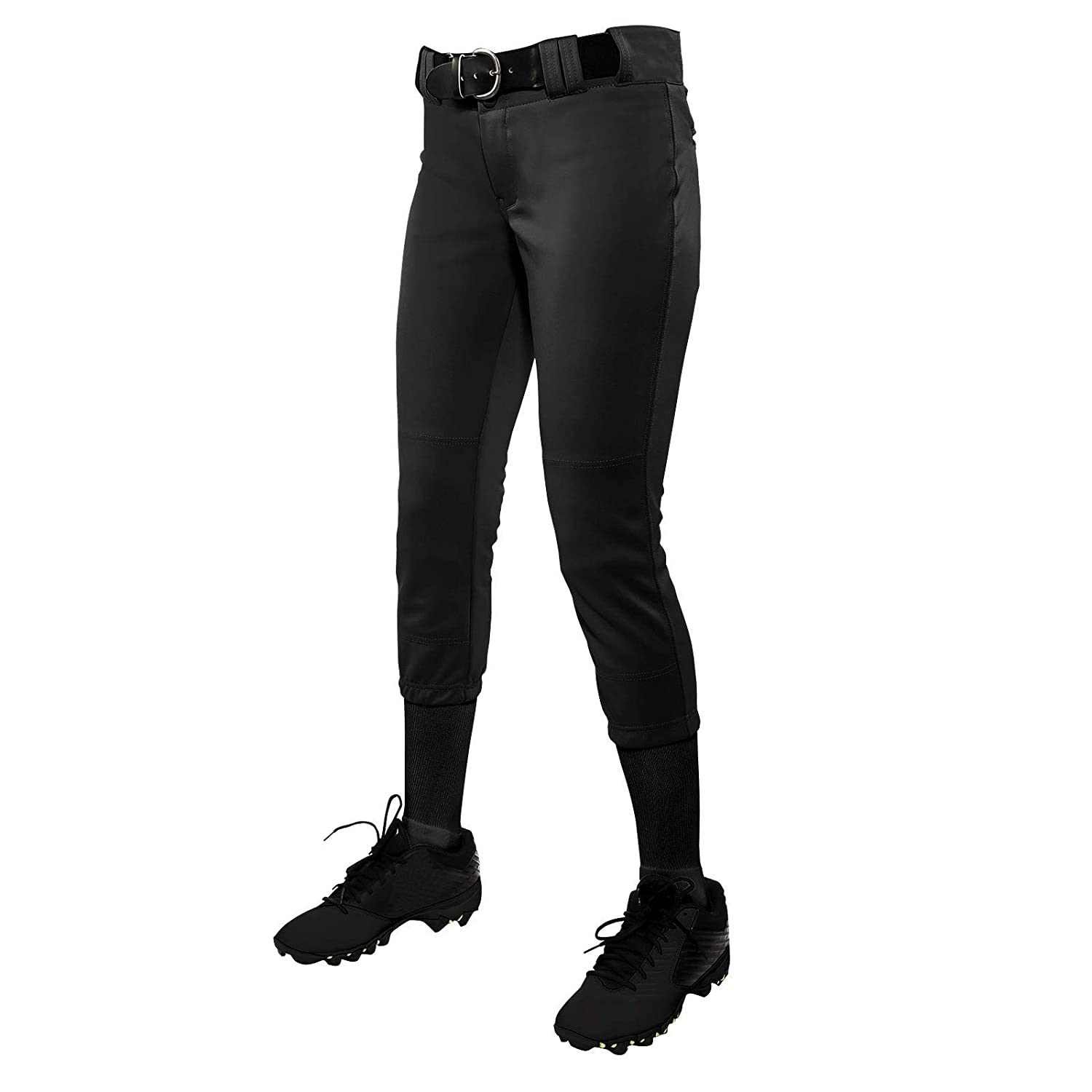 Black CHAMPRO Youth Tournament Traditional Low-Rise Polyester Softball Pant Medium