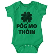 Brisco Brands Pog MO Thoin Funny ST Patricks Day Shirt Cool Gift Idea PattyRomper Bodysuit,Irish Green,12 Months