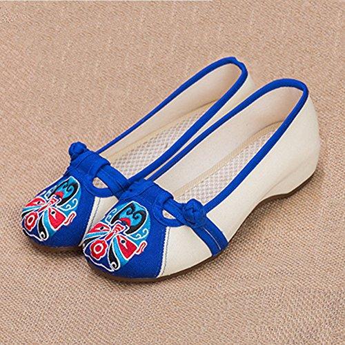 Chinese Borduurwerk Slip Voor Dames Op Casual Wedges Schoenen Blauw