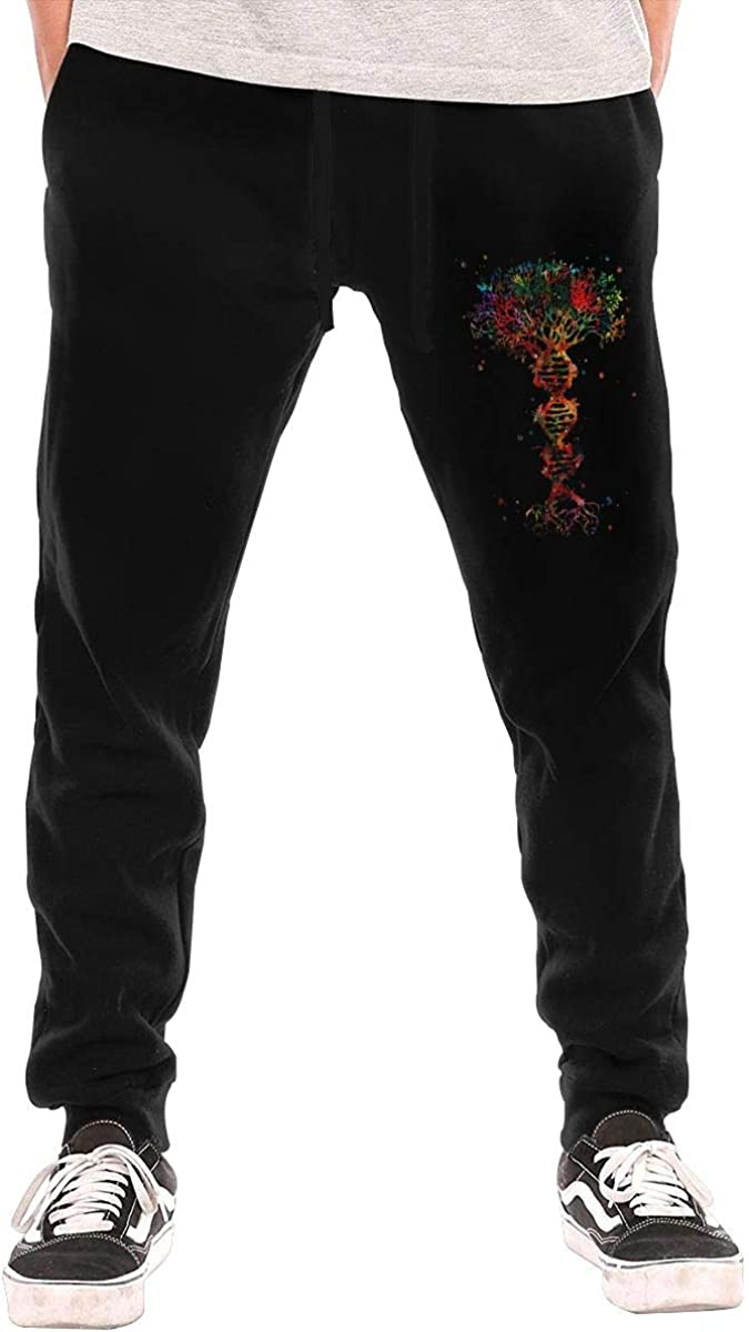 DNA Tree of Life Printed Men's Classic-Fit 3-Pocket Fleece Long Pant Underwear Bottoms