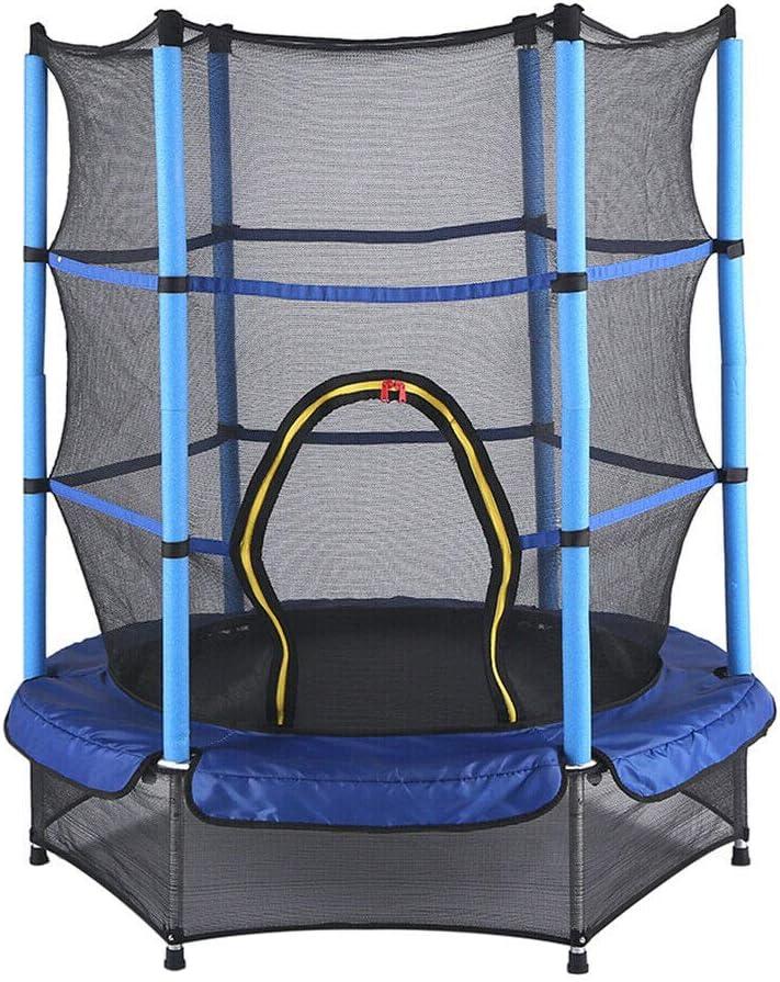 con red de seguridad y cubierta de bordes Trampol/ín de jard/ín para ni/ños de 55 pulgadas color azul cama el/ástica de fitness trampol/ín infantil para interior y exterior