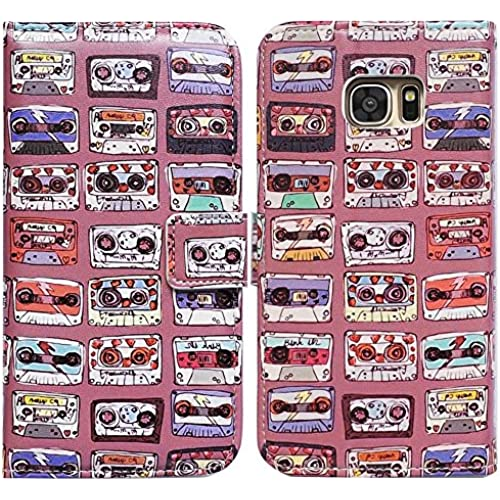 Bfun Packing Bcov Retro Cassettes Pink Card Slot Wallet Leather Cover Case For Samsung Galaxy S7 Sales