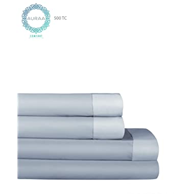 AURAA Comfort 500 Thread Count 100% Long Staple Cotton Sheet Set - Reversible King Sheets -4 Piece Set,Soft & Smooth Sateen Weave,Upto 16  DEEP Pocket,Luxury Hotel Bedding, Grey